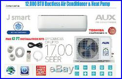 12000 BTU Ductless Air Conditioner, Heat Pump Mini Split 115V 1Ton withWIF12ft Kit