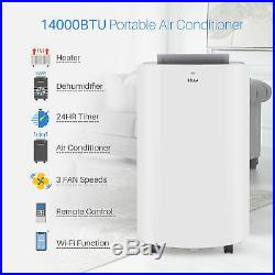 14,000 BTU Portable Air Conditioner Dehumidifier Heater Cooling A/C LED + Remote