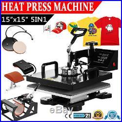 15x15 5 in 1 Heat Press Machine Digital Transfer Sublimation T-Shirt Mug Hat