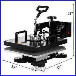 5 in 1 Heat Press Machine Digital Swing Away Sublimation T-shirt Mug Hat 15x15