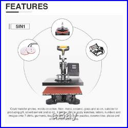 5 in 1 Heat Press Machine Swing Away Digital Sublimation T-Shirt / Mug/Plate Hat