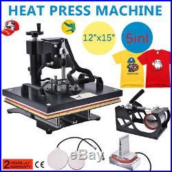 5In1 Digital Heat Press Machine Sublimation forT-Shirt /Mug/Plate Hat Printer FL