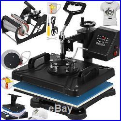5in1 Heat Press Transfer Machine Digital Chanshell T-Shirt Black 15X12 Platen