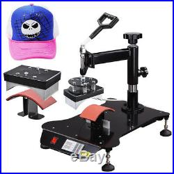 6 in 1 Heat Press Machine Swing Away Digital Sublimation T-Shirt Mug Plate Hat