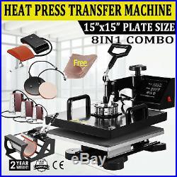 8IN1 Combo T-Shirt Heat Press Transfer 15x15 Mug Plate Hat Machine Swing Away