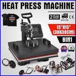 8IN1 Combo T-Shirt Heat Press Transfer 15x15 Printing Machine Swing Away