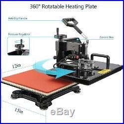8in1 12x15 T-shirt Heat Press Machine Swing Away Printing transfer Mug Cup