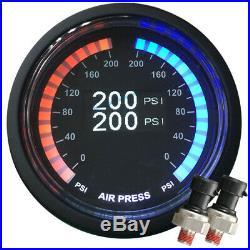 Airmaxxx Dual OLED Display 200 PSi Digital Pressure Air Gauge with 1/4 Tee