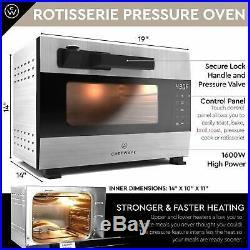 ChefWave Digital Pressure Oven & Rotisserie, 27qt, 1600W Heating & Accessories
