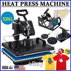 Digital 5 in 1 Heat Press Machine Sublimation Swing Away T-shirt Mug Plate Hat