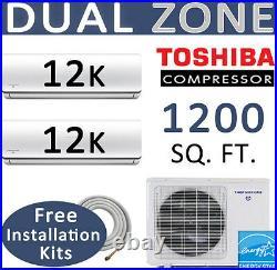 Dual Zone Ductless Mini Split Air Conditioner Heat Pump 2 x 12000 BTU 25ft kits