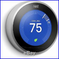 Google Nest 3rd Generation Smart Learning Thermostat Stainless Steel