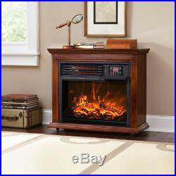 Large Room Electric Infrared Fireplace Heater Wood Mantel Oak Finish with Casters