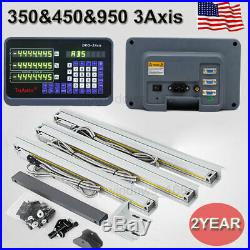 US 3Axis Digital Readout DRO Display TTL Linear Glass Scale 350&450&950mm Mill