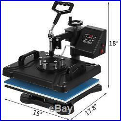 VEVOR 5In1 Digital Heat Press Transfer Machine Sublimation T-Shirt Mug 15x12